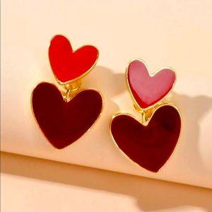 New Double Heart Drop Earrings